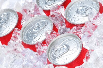 Canvas print Close Up of Soda Cans in Ice