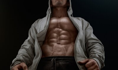 Canvas print Close up on perfect abs. Strong bodybuilder with six pack