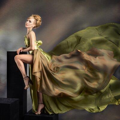 Canvas print Closeup fashion portrait of young beautiful woman