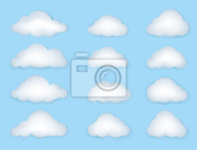 Clouds Isolated Vector Set. Weather Symbols.