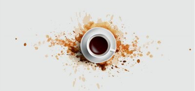 Canvas print Coffee concept on white background - white coffee cup, top view with watercolor coffee splashes. Hand draw and watercolor coffee illustration with beautiful art splashes