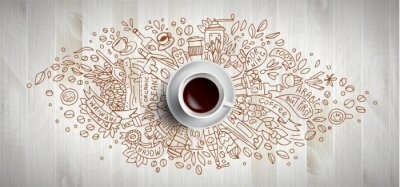Canvas print Coffee concept on wooden background - white coffee cup, top view with doodle illustration about coffee, beans, morning, espresso in cafe, breakfast. Morning coffee vector illustration. Hand draw and