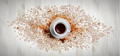 Canvas print Coffee concept on wooden background - white coffee cup, top view with doodle illustration about coffee, beans, morning, espresso in cafe, breakfast. Morning coffee vector illustration with coffee