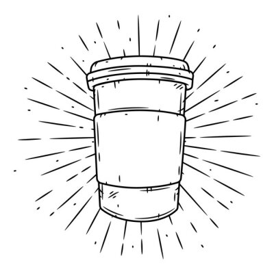Canvas print Coffee cup. Hand drawn vector illustration with coffee cup and divergent rays.