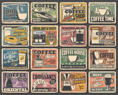 Canvas print Coffee cups and espresso machine grunge posters of cafe vector design. Hot drink and beverage mugs with cappuccino, latte and mocha, coffee bean grinder, pot and paper cup, croissant, sugar and milk