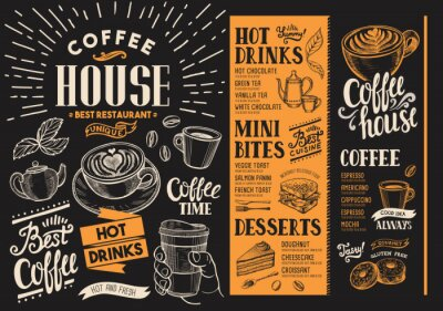 Canvas print Coffee restaurant menu. Beverage flyer for bar and cafe. Design template with vintage hand-drawn food illustrations.