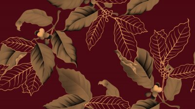 Canvas print Coffee tree seamless pattern, branch of coffee tree in golden brown on dark red background, vintage style