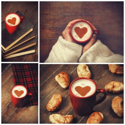 Canvas print Collage of photos with cup and shape heart.