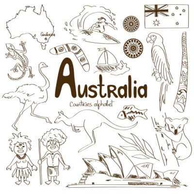 Canvas print Collection of Australia icons