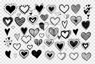 Collection of doodle sketch hearts hand drawn with ink