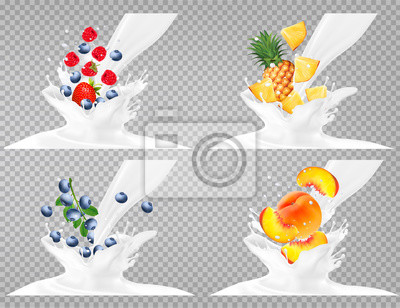 Collection of fruit in a milk splash. Strawberry, raspberry, blueberry, peach,  pineapple.  Vector Set