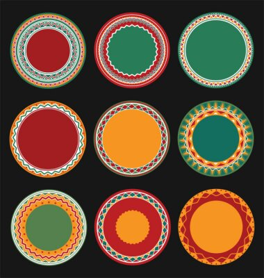 Canvas print Collection of Mexican Round Decorative Border Frames with Black Filled Background