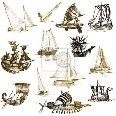 collection of ships - vessels from different periods