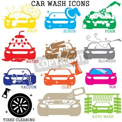 Canvas print color car wash icons on white background
