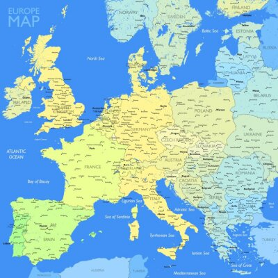 Canvas print Color Europe map