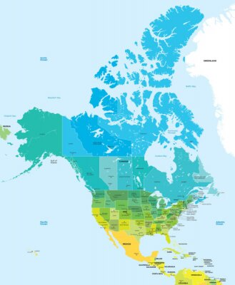 Canvas print Color map of the USA and Canada