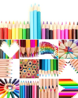 Canvas print Color pencils collage