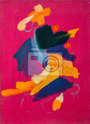 Colored brushstrokes in oil on canvas