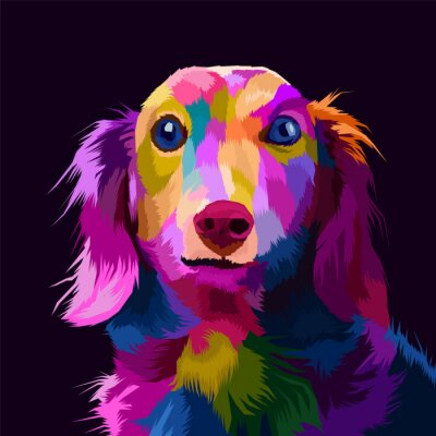 Canvas print colorful dog pop art portrait vector