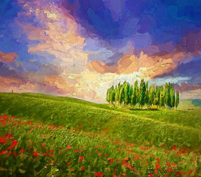Canvas print Colorful evening sunset with famous group of cypress tress and red poppy flowers on the rolling hills in summer time at Tuscany, Italy.- oil painting.