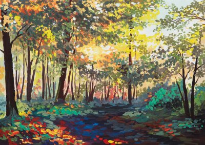 Canvas print colorful forest with trees in spring at sunset, oil painting