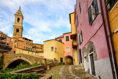 Canvas print Colorful houses in the old town of Dolcedo, Liguria, Italy