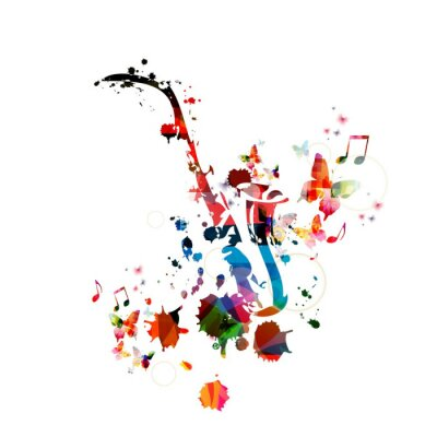 Canvas print Colorful music background with saxophone