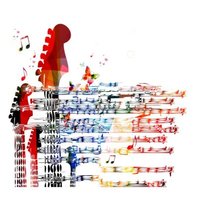 Canvas print Colorful music guitar background. Vector