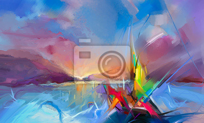 Colorful oil painting on canvas texture. Semi- abstract image of seascape paintings with sunlight background.