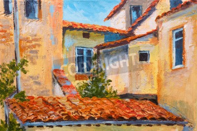 Canvas print colorful oil painting - roofs of houses, European street, art  impressionism