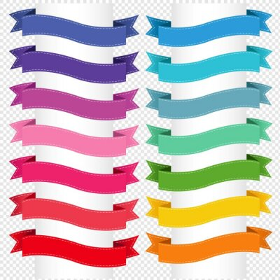 Colorful Ribbon Big Collection Isolated Transparent Background, Vector Illustration