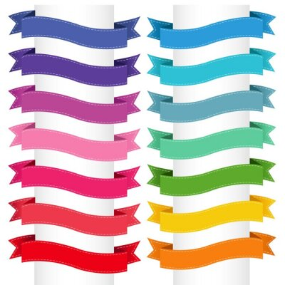 Colorful Ribbon Big Collection Isolated White Background, Vector Illustration