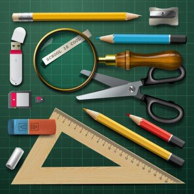 Canvas print Colorful school supplies, vector Eps10 illustration.