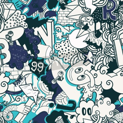 Canvas print Colorful seamless pattern. Graffiti doodles street art illustration in blue colors. Composition bizarre elements and characters for skate board, street clothing, streetwear, wallpapers textile fabric