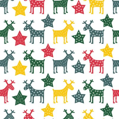Canvas print Colorful seamless retro Christmas pattern - Xmas reindeer and night stars. Happy New Year background. Vector design for winter holidays on white background.