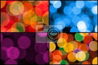 colorful set of backgrounds bokeh lights