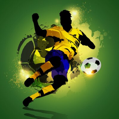Canvas print Colorful soccer player shooting