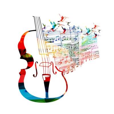 Canvas print Colorful violoncello design with hummingbirds