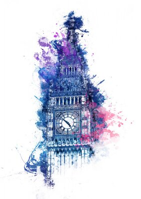 Canvas print Colorful watercolor painting of Big Ben