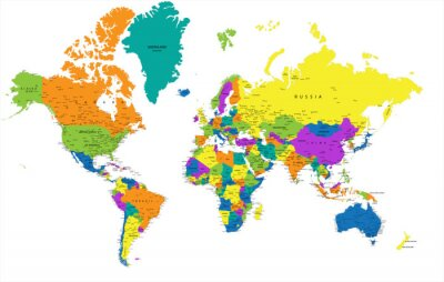 Canvas print Colorful World political map with clearly labeled, separated layers. Vector illustration.