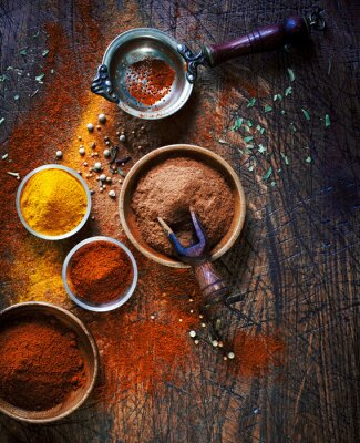Canvas print Colourful dried ground spices