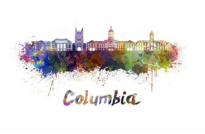 Canvas print Columbia MO skyline in watercolor