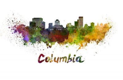 Canvas print Columbia skyline in watercolor splatters with clipping path