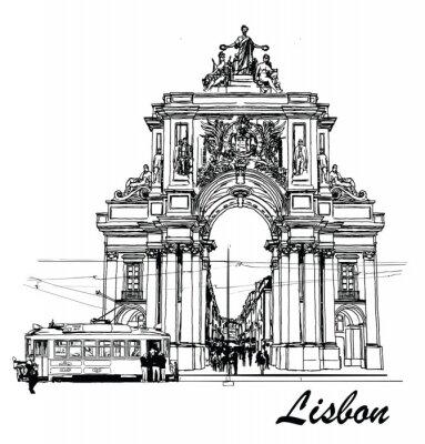 Canvas print Commerce square in Lisbon