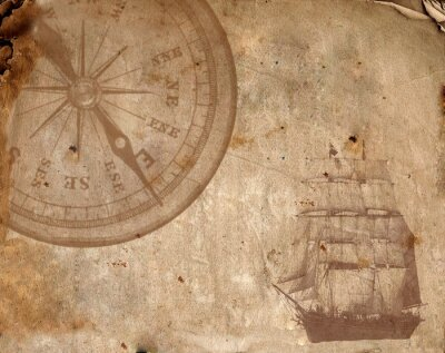 Canvas print Compass on the old paper