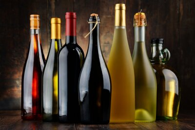 Canvas print Composition with assorted bottles of wine