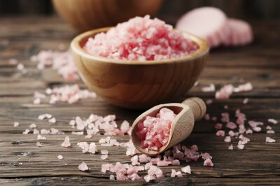 Canvas print Concept of spa treatment with pink salt