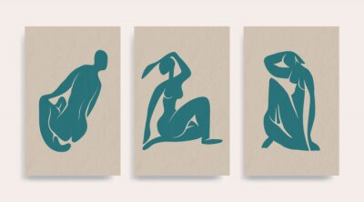 Canvas print Contemporary Henri Matisse abstract vector poster. Woman nude figure sitting silhouette line art Matisse painting. Pastel reproduction of painting. Geometric shape collage.