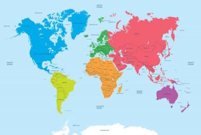 Canvas print Continents of the World and political Map