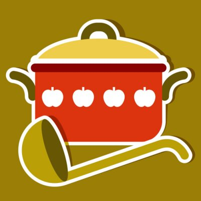 Canvas print Cooking pot and ladle. Vector kitchen symbols